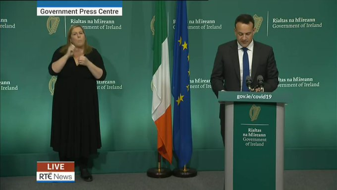 Taoiseach Leo Varadkar outlines further Covid-19 measures, says everybody must stay at home from midnight tonight until Easter Sunday, 12 April